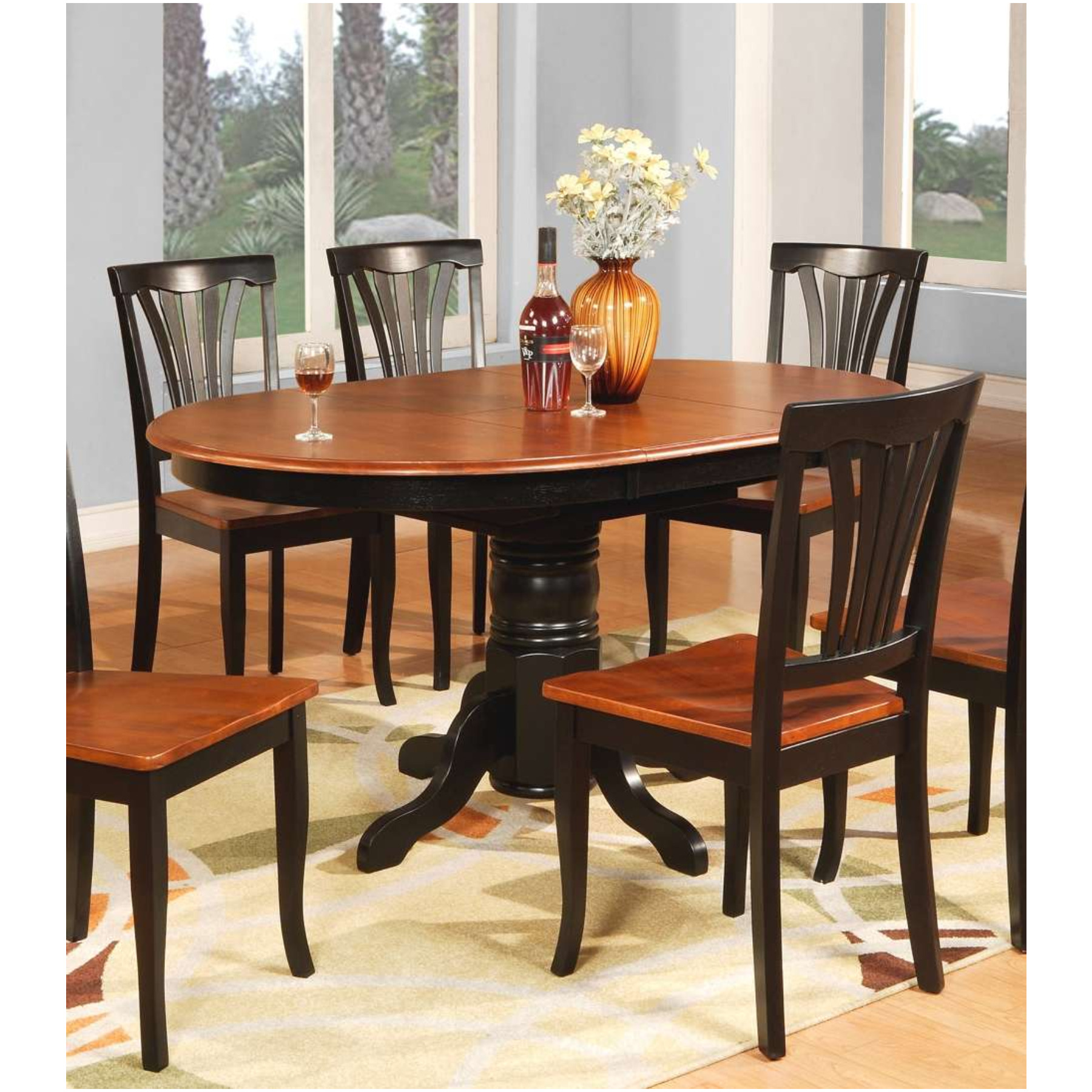 East west furniture east west furniture avon 5 piece 60x42 for Dining room table 42 x 60