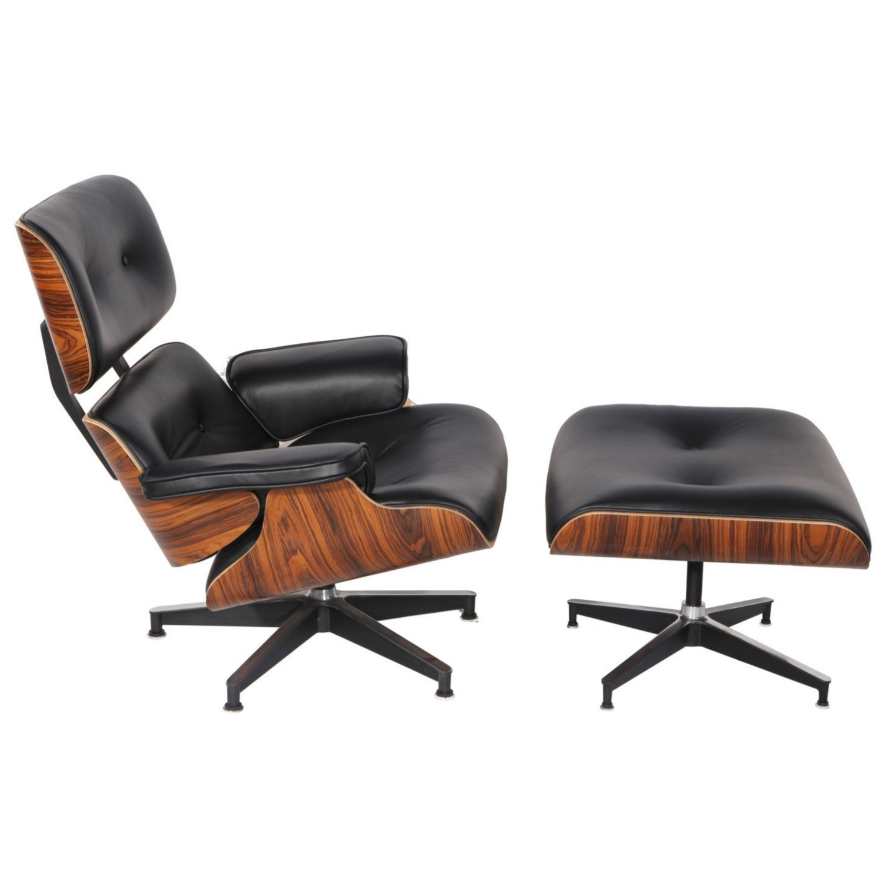 ... Mid Century Eames Style Lounge Chair U0026 Ottoman Reproduction Aniline  Leather Black Palisander ...
